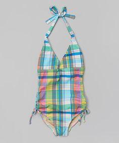 Loving this Squirtini Bikini Teal & Yellow Plaid Halter One-Piece - Girls on #zulily! #zulilyfinds