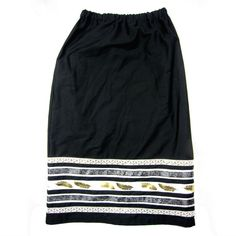 This ribbon skirt was handmade by Margaret Judy Kakenowash Azure (Turtle Mountain Chippewa) and features silver and gold ribbon on a black cotton s... Cherokee Clothing, Native American Clothing, Native American Fashion, Dance Outfits, Skirt Outfits, Dress Skirt, Ribbon Work, Black Ribbon, Misses Clothing