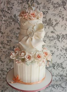 Roses and Jasmine Wedding Cake  ~ All sugar flowers and totally edible