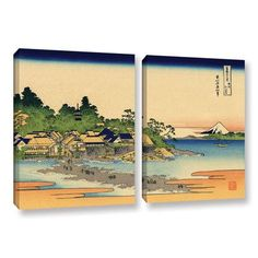 """ArtWall Enoshima in the Sagami Province by Katsushika Hokusai 2 Piece Painting Print on Wrapped Canvas Set Size: 32"""" H x 48"""" W x 2"""" D"""