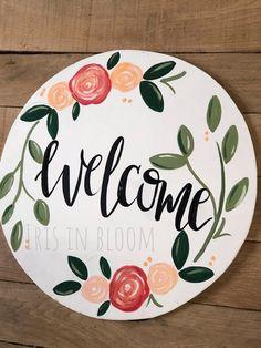 Floral Door Hanger Floral Door Hanger – Iris in Bloom<br> Include phrase or last name in notes section at check out. Wooden Door Signs, Front Door Signs, Porch Signs, Front Door Decor, Wooden Doors, Wood Signs, Welcome Door Signs, Burlap Door Hangers, Initial Door Hanger