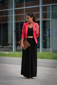 work blazer with black maxi dress 2017 Maxi Skirt Blazer, Black Maxi Skirt Outfit, Sexy Maxi Dress, Maxi Dresses, Maxi Skirts, Maxi Dress With Jacket, Black Skirts, Dress Long, Girls Dresses