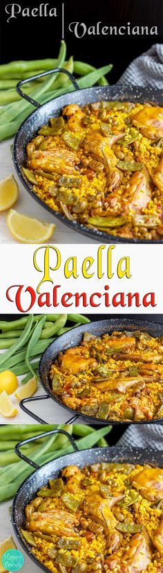 Paella Valenciana - Traditional Paella Valenciana is a great dish to share with family and friends! Spanish food, cooking, recipe, rice dish | happyfoodstube.com