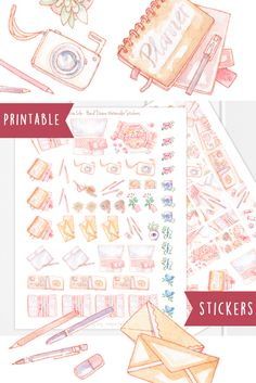 Creative business, blogger and freelancer stickers. For your planner, journal, scrapbook or diary, these hand drawn watercolor stickers are perfect to plan out your blog content, order shipments, business ideas and social media - and the occasional break with food and coffee, of course!   Two pages of stickers, with boxes fitting the Erin Condren Life Planner layout, but just as easy to use in other planners and schedules! Social media icons for instagram, facebook and twitter.