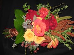 mixture of dried and fresh, adds a rustic look to bouquets