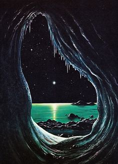 "Pluto illustration by David Hardy from the book ""The Challenge of the Stars"" by Patrick Moore & David Hardy, 1977."