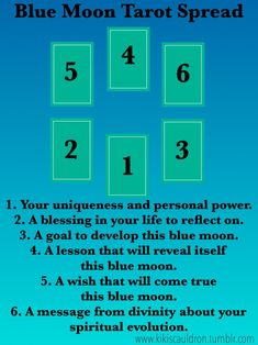 kikiscauldron:  The blue moon is a powerful time for divination. Here is a spread to honor its power.