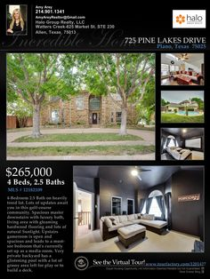 Home for Sale in Plano, TX  for $265k. View the Virtual Tour-4/2.5/2 with POOL, master down, hardwoods, lots of updates.