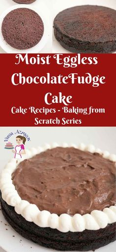 MOIST EGGLESS CHOCOLATE FUDGE CAKE RECIPE   This moist eggless chocolate fudge cake has a firm texture with soft crumb that melts in the mouth. Simple and easy to make and so versatile with so many flavor variations. Try it with rich buttercream frosting, light whipped cream or fill it with an indulgent chocolate mousse filling like I have. via veenaazmanov.com  #eggless #chocolate #cake #egglesschocolatecake #baking #recipe #moist #cakerecipes #veenaazmanov #howto #bake @Veenaazmanov