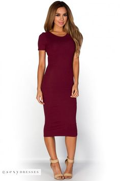 """Elise"" Burgundy Wine Red Short Sleeve Bodycon T Shirt Midi Dress"