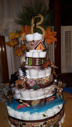 Diaper Cake Camping Theme Baby Shower Camping Baby