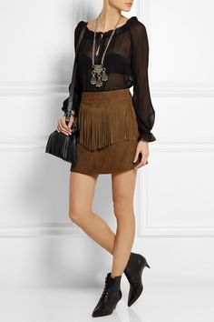 Saint Laurent|Fringed suede mini skirt $2,660.10|NET-A-PORTER.COM