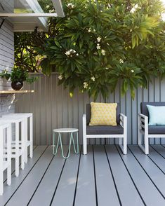 Unusual Small Backyard Ideas - Page 30 of 107 Cheap Landscaping Ideas, Small Backyard Landscaping, Backyard Ideas, Small Patio, Painted Pool Deck, Deck Colors, Alfresco Area, House Deck, Pergola Lighting