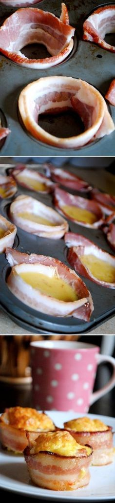 This looks so good! Mini Bacon Egg Cups -  Simply wrap your muffin tins with bacon, fill with seasoned whipped eggs and bake at 350* for 30-35 minutes.