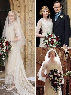edith wedding dress downton abbey Downton Abbey Cast, Downton Abbey Costumes, Downton Abbey Fashion, Boho Wedding Dress, Boho Dress, Wedding Gowns, Wedding Flowers, Gentlemans Club, Mode Vintage