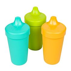 Re-Play Made in USA No Spill Sippy Cups for Baby, Toddler, and Child Feeding in Bright Pink, Lime Green and Sunny Yellow Spill Proof Cup, Baby On A Budget, Replay, Bright Pink, 1 Piece, Recycling, Lime, Aqua, Sippy Cups
