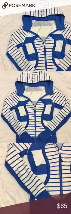 🎉25% off bundles! Blue Striped Scuba Jacket Super adorable and rare blue striped lululemon scuba jacket. Size 2. In great condition except sleeve has blue from fabric rubbing. Should easily come out with some care! lululemon athletica Tops Sweatshirts & Hoodies