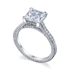 Princess Diamond three sides pave eternity  Engagment ring in 14K White Gold