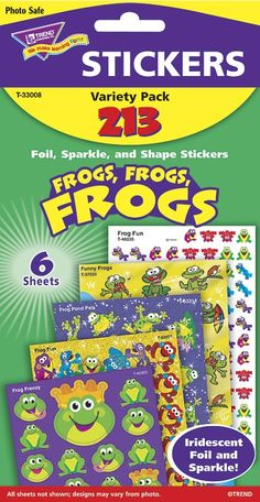 Get all your favourite Frog themed stickers in one pack! Perfect for rewarding achievement and adding a fun finishing touch to notes, scrapbooks, and crafts. Pack includes sticker designs in sparkle, foil, and more.