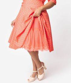Unique Vintage   Pantone Plus Size Living Coral Retro Style Ruffled Petticoat Crinoline Pantone, Plus Size Vintage, Unique Vintage, Live Coral, Color Of The Year, Frocks, Vintage Inspired, High Waisted Skirt, Ballet Skirt