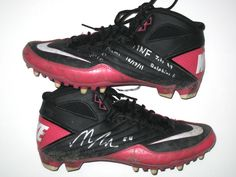 33f222e66 Nick Bellore New York Jets Game Worn   Signed Pink   Black Breast Cancer  Awareness Nike Cleats - Win Vs Miami Dolphins on Monday Night Football