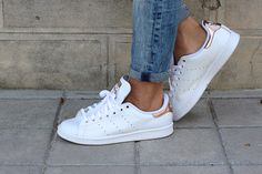 Stan Smith gloss & rose gold sneakers with jeans