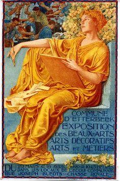 Etterbeek Exposition des Beaux-Arts - 1920 vintage poster