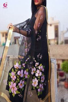 Rs 1199, Buy this Black Organza Handpainted Floral stole by Colorauction from www.colorauction.com #handpainted #multicolor #stole #floral #organza #womenfashion #colorauction