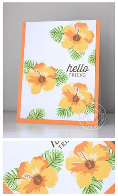 handmade greeting card ... layering stamps hibiscus in oranges ... beautiful ...