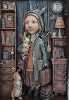 """Купить """"Девочка с кроликами""""папье-маше,дерево - горельеф, барельеф на стену, барельеф панно, жердева мария"""