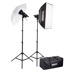 "Can't decide between umbrella or softbox? We won't make you choose with our 200W/s Two Strobe 20""x28"" Softbox 33"" Umbrella Kit. Create the perfect studio with an umbrella to soften the light and the softbox to broaden the rays. Your subject never looked better with this complete kit. Also included, the carrying case convenient for our traveling photographer so you can pack up and move location. $158.95"
