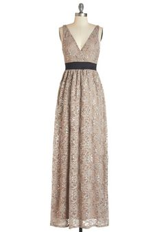 Next Taupe Model Dress - Tan, Solid, Lace, Sequins, Special Occasion, Wedding, Bridesmaid, Maxi, Sleeveless, Lace, Better, V Neck, Knit, Ful...
