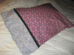"""How to sew a """"hot dog"""" style pillow case. Quick and easy. Great for making holiday themed pillowcases for kids."""