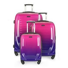 This Samsonite staple features four wheels, push-button locking handle, full lined interior, a zippered interior compartment, a mesh zippered pocket and top and side handles. Three-piece luggage set available (sold separately).