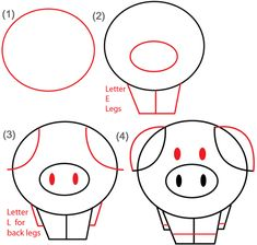 Big Guide to Drawing Cartoon Pigs with Basic Shapes for Kids - How ...