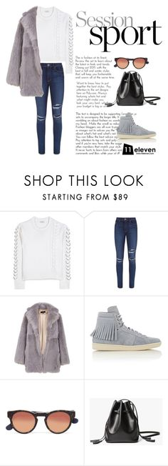 """""""Peacoat × Skinny Jeans × Fringed Sneakers & Bag"""" by hielevencom ❤ liked on Polyvore featuring Edun, Paige Denim, TIBI, Yves Saint Laurent, women's clothing, women's fashion, women, female, woman and misses"""