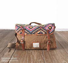 Main sac à main en cuir toile besace en toile sac à par Leizistudio, $49.90