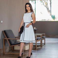 Vestido Preto e branco Block Dress