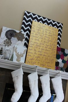 Might try this for the bedroom dresser minus the stockings!   >>  Daisy Dreaming: My DIY mantle art projects