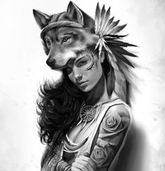 Woman and Wolf Native Tattoos, Wolf Tattoos, Body Art Tattoos, Girl Tattoos, Sleeve Tattoos, Ab Tattoo, Tattoo Art, Native American Girls, American Indians