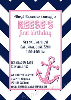 Anchor Birthday Party Digital Invitation on Etsy, $10.00