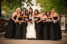 The choice for black bridesmaids dresses and deep purple calla lilies was an amazing choice. #black #bridesmaids #callalilies
