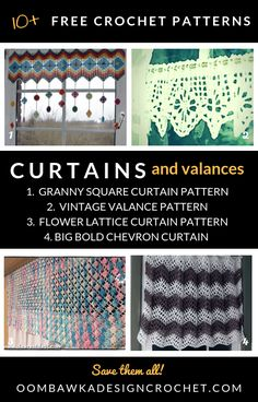 Free Crochet Curtain Patterns and Valance Crochet Patterns Crochet Curtain Pattern, Crochet Curtains, Crochet Patterns, Crochet Tutorials, Crochet Ideas, Crochet Projects, Chevron Curtains, Colorful Curtains, Crochet Kitchen