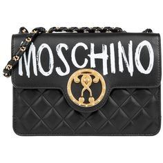 Moschino Questionmark Quilted Chain Crossbody Bag Black in black,... ($1,480) ❤ liked on Polyvore featuring bags, handbags, shoulder bags, black, purse crossbody, leather shoulder bag, quilted leather crossbody, leather handbags and leather hand bags