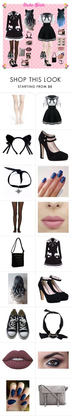 """""""Neko"""" by rocker2746 ❤ liked on Polyvore featuring Lemon, Kate Spade, Child Of Wild, Fogal, Rimen & Co., Converse, Lanvin and Lime Crime"""