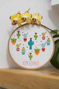 Modern Cross Stitch Pattern Cactus Heart cross stitch