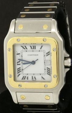 Cartier Santos Galbee SS/18K gold high fashion automatic men's watch w/ date