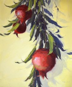 Branches of Pomegranate, painting by artist Laurel Daniel