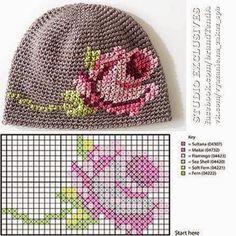 Cross stitch on crochet Pixel Crochet, Crochet Cap, Crochet Cross, Crochet Beanie, Cross Stitch Rose, Cross Stitch Embroidery, Baby Hats Knitting, Knitted Hats, Knitting Patterns