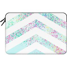 Modern pastel paint splatters teal ombre chevron pattern by Girly... (955 ARS) ❤ liked on Polyvore featuring accessories, tech accessories, bags, electronics, case and macbook sleeve
